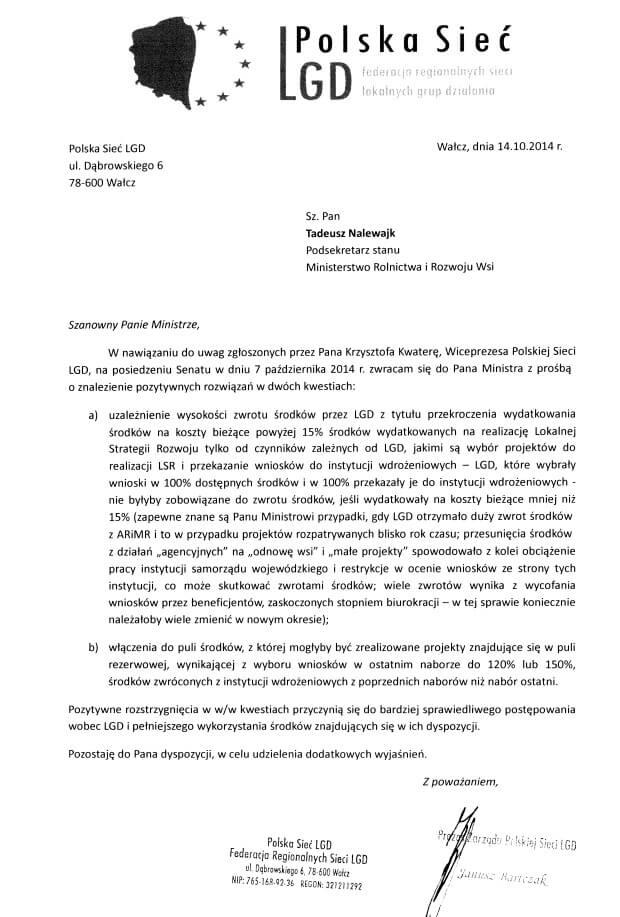 Pismo do Tadeusza Nalewajka