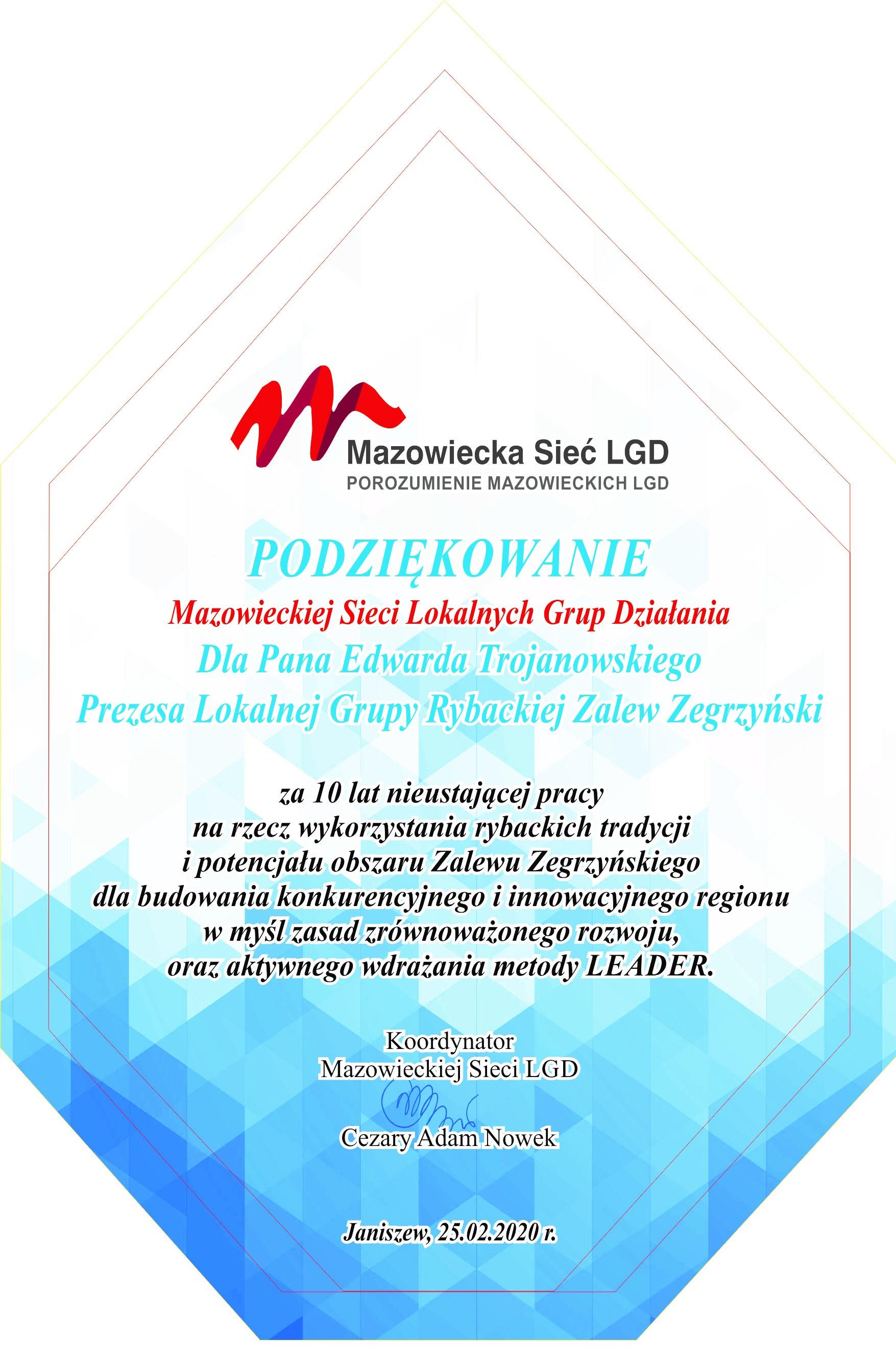 podziekowanie LGR Zalew Zegrzynski mazowiecka sieć lgd