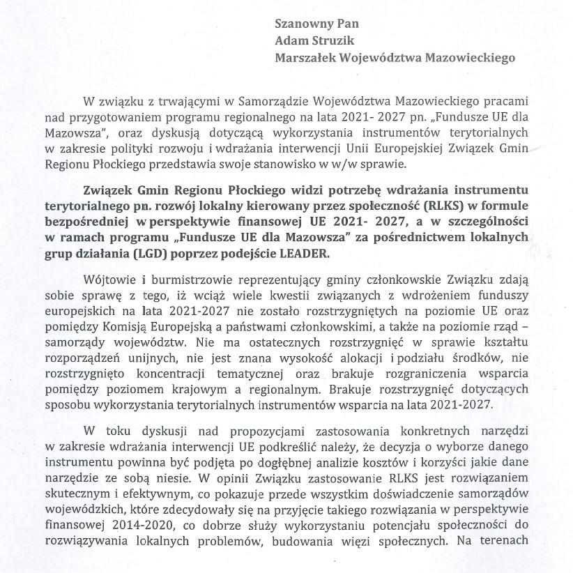 Stanowisko Związku Gmin Regionu Płockiego w/s RLKS-u w województwie mazowieckim