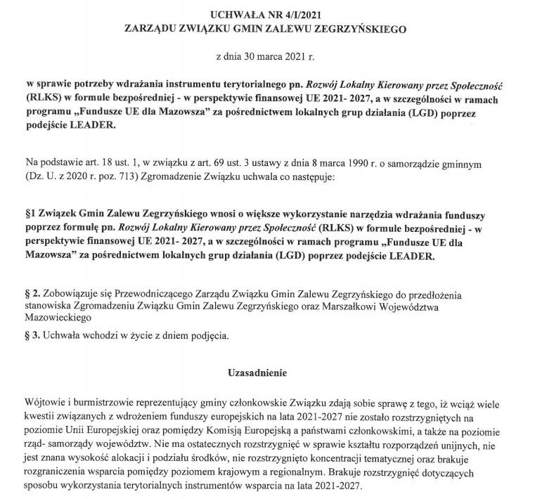 Zarządu Związku Gmin Zalewu Zegrzyńskiego w/s RLKS-u